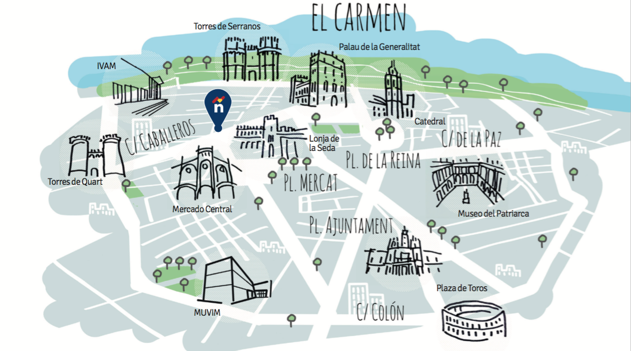 Map Valencia centre